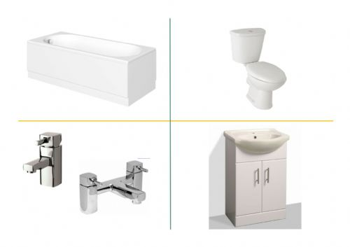 Complete Bathroom Suite Inc Bath, Basin Unit, Toilet & Seat - Various Sizes